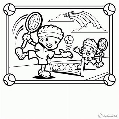 Coloring Tennis Playing Playground Printable Sheets Children