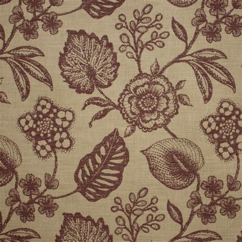 Curtain And Upholstery Fabrics by Manon Plum Floral Leaf Curtain Fabric Closs Hamblin