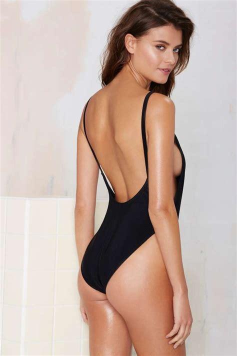 nasty gal alina swimsuit black  pieces swimwear