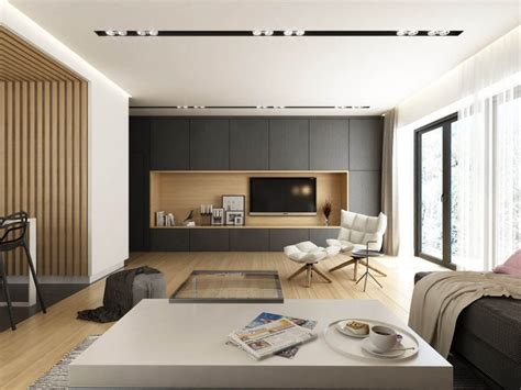 Home Interior Designers In Zirakpur : Dark Grey, White & Wood Tone Decor With Personal Flair