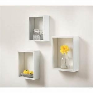 Etagere Cube Blanc : lot de 3 tag res cube 12 mm blanc etag re tablette rangement dressing d coration ~ Teatrodelosmanantiales.com Idées de Décoration