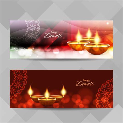 abstract happy diwali banners set   vectors