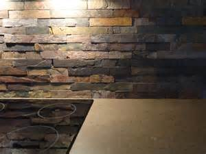 kitchen backsplash designs 2014 favored stacked stones slate backsplash with electric top stove on concrete countertops as
