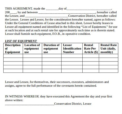 sample equipment lease agreement   documents