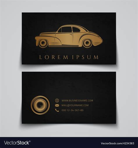 business card template classic car logo  automotive