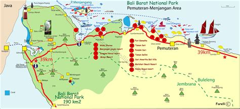 bali barat national park  pemuteran menjangan area map