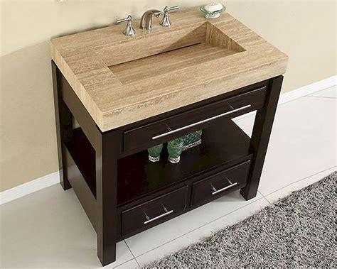 silkroad  single sink cabinet travertine vanity top sink