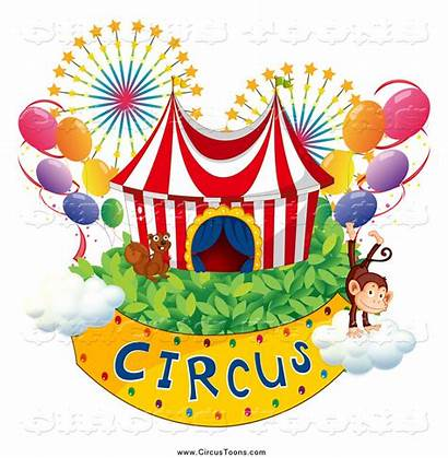 Circus Balloons Fireworks Monkey Clipart Banner Squirrel