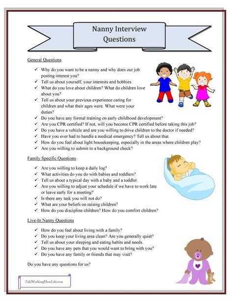 What Should I Put On A Babysitting Resume by Nanny Questions Free Printable Checklist Fab Working
