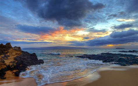Wallpaper Sunset, Secret Beach, Makena, Maui, Hawaii