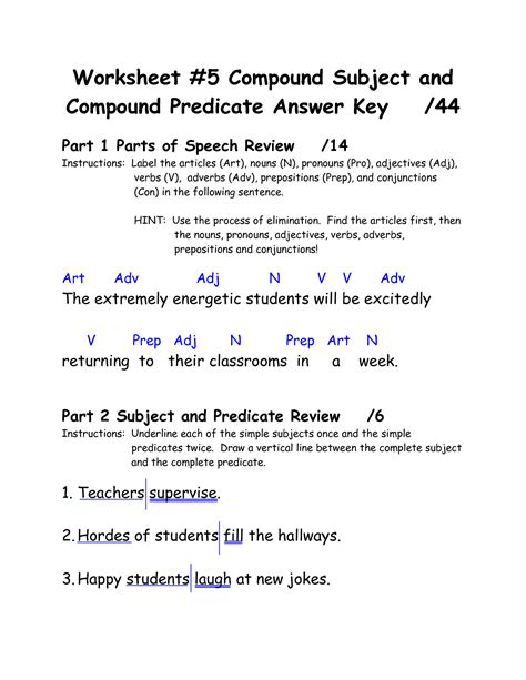4th grade complete subject predicate worksheets 3rd