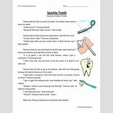 Sparkly Teeth  Reading Comprehension Worksheet