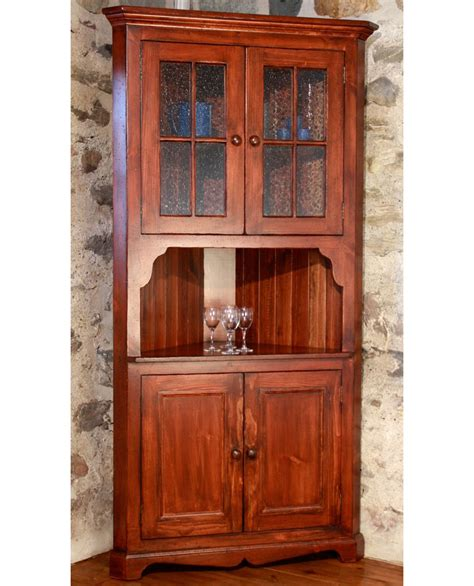 Black Corner Cupboard by Rench Country Cottage Corner Cupboard Black Cherry Stain