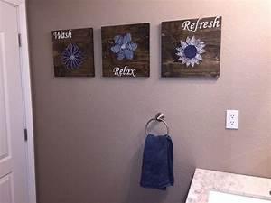 Diy wall art bathroom : Diy bathroom wall art string to add a pop of color