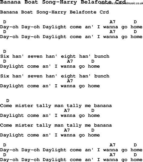 Banana Boat Song Guitar Tab by Skiffle Lyrics For Banana Boat Song Harry Belafonte With