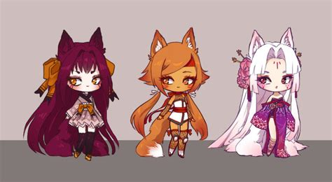 Kitsune Chibi Batch {sold} By Littleruekitty On Deviantart