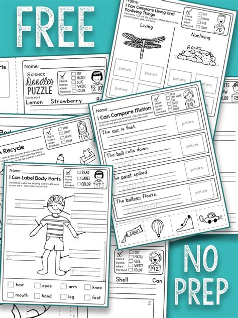 7 no prep activities for best 25 free kindergarten worksheets ideas on pinterest