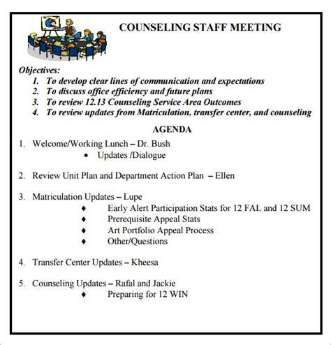 staff meeting agenda template 6 staff meeting agenda sles sle templates