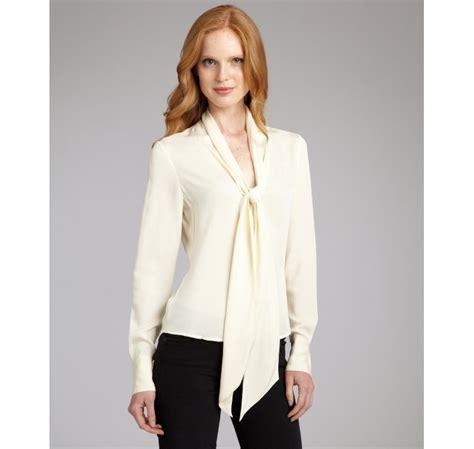 silk tie neck blouse zoe ivory stretch silk tie neck natalie blouse in