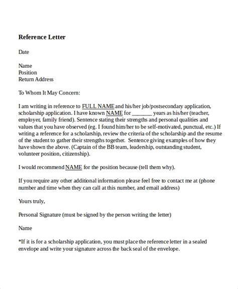 reference letter  teacher templates  sample