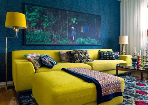 yellow and blue living rooms eclectic blue and yellow living interiors by color