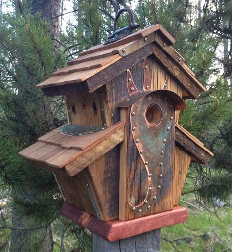 interesting bird houses unique barnwood birdhouse abbey copper design birthday wedding