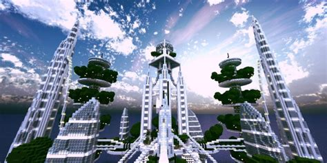ocean cityscape towers minecraft building
