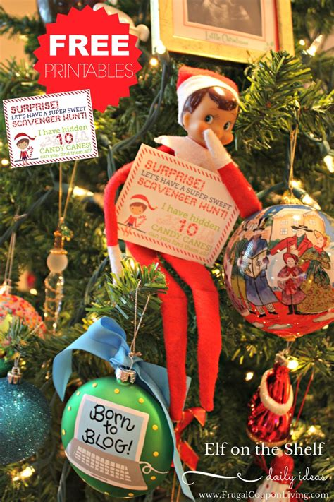 elf shelf hunt scavenger note christmas candy printable hidden canes cane notes frugalcouponliving frugal coupon holiday props living