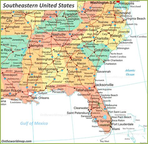 map  southeastern united states