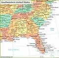 Map of Southeast US