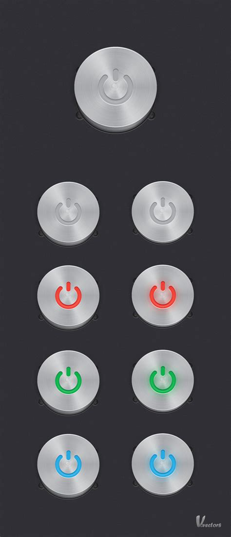 Create A Steel, Vector Power Button Set