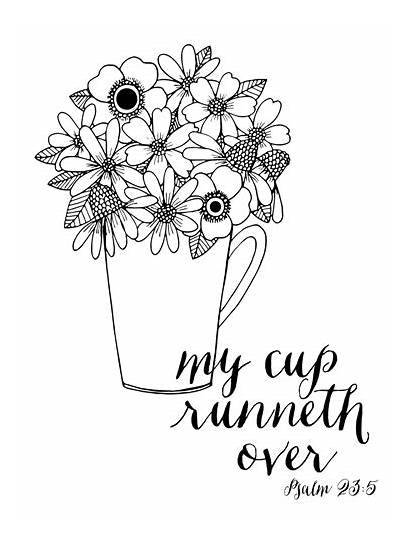 Cup Runneth Canvas Coloring Psalm