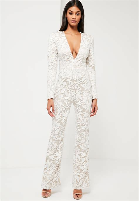 lace jumpsuit white missguided peace white lace plunge jumpsuit in