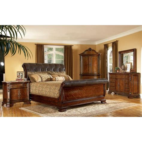 king size  piece wood leather sleigh bedroom set