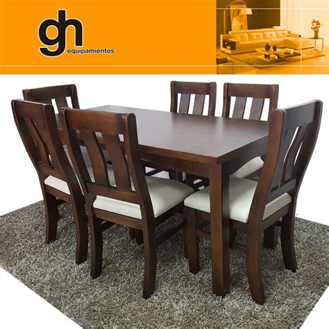mesa  sillas  comedor living modular madera maciza gh