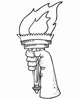 Liberty Torch Statue Clipart Drawing Coloring Flame Patriotic Cartoon Clip Colouring Cliparts Symbols Battery Draw Line Library Becuo Pencil Operated sketch template