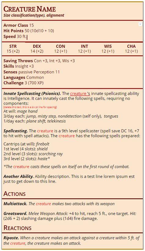 25+ 5e Monster Stat Block Template Pics - FreePix