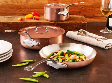 mauviel ms  piece copper cookware set  stainless steel handles