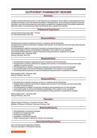 Pharmacist Resume Help by Sle Outpatient Pharmacist Resume