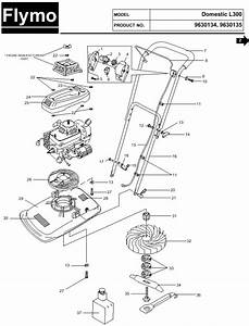 Flymo L300 Spares Parts Diagram 9630134 9630135 Spares And