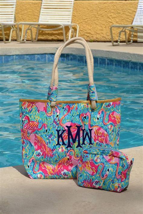 monogrammed tote beach bag resort print tote bag resort monogram   bags flamingo print