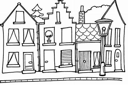 Coloring Pages Printable Houses Building Colouring Tall