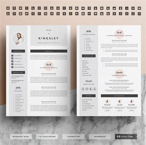 Set Resume Template by Professional Resume Template Cover Letter Icon Set For