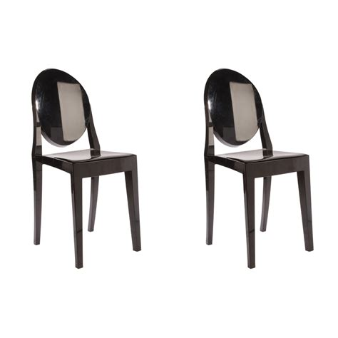 set of 2 style ghost dining chair black color