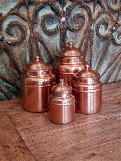 copper canisters kitchen vintage copper kitchen canisters set of four vintage by