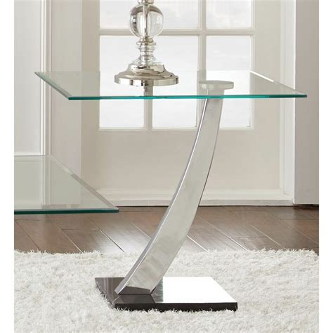 Contemporary End Tables For Living Room by Chrome And Glass Quot End Table Quot Living Room Accent Home