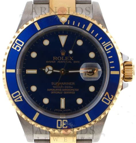 Pre-Owned 2006 Rolex Two Tone Submariner Watch With Blue ...
