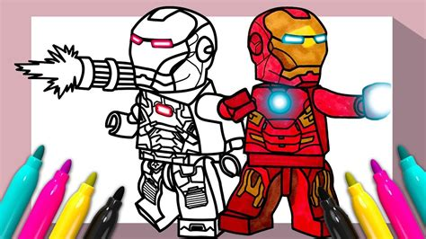lego iron man war machine coloring page coloring