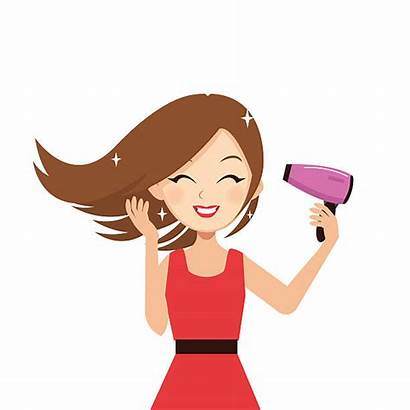 Blow Drying Hair Clip Vector Woman Lissage