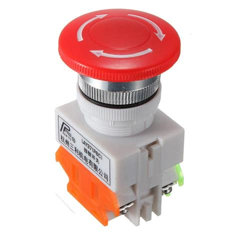 push in wire connectors n o n c emergency stop switch push button 4